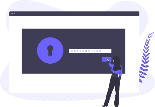 Woman looking at large screen login page